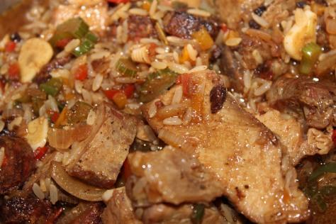 Adding the Meat to Jambalaya Pot