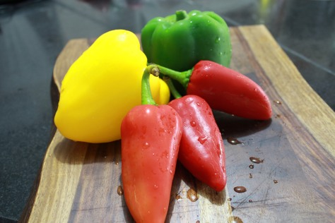 Multi-colored peppers are not required, but green bell pepper are a necessity.