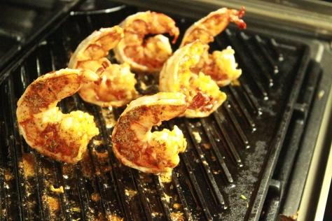 Cajun Grilled Shrimp on the griddle