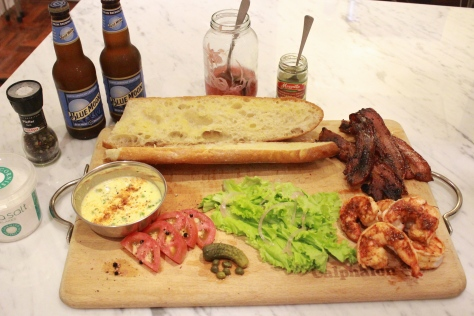Cajun Grilled Shrimp and Bacon Po' Boy Board with Blue Moon