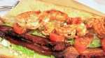 Close up of Shrimp and Bacon Po' Boy