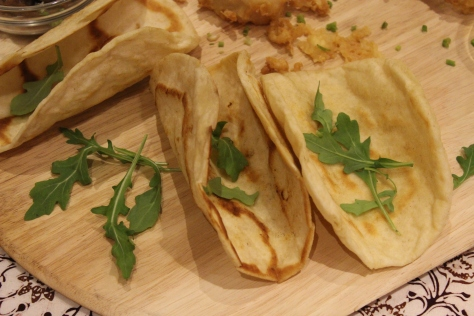 Buttered and skillet fried flour tortillas