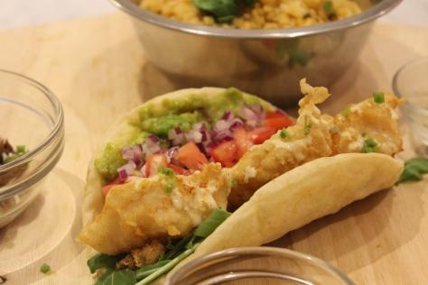 Single fish taco angled