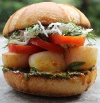 Seared Scallop Sandwich with lemongrass infused fresh coconut and dill slaw with a tamarind turmeric gravy