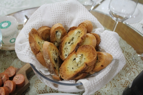 Simple garlic buttered baguette